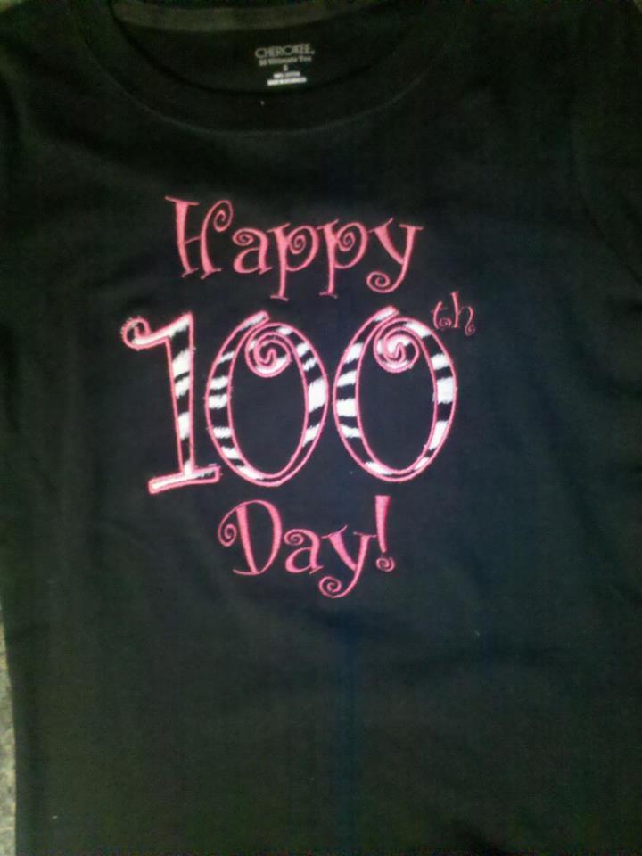 Custom Applique Happy 100th Day! School Shirt