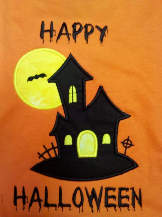 Custom Applique Haunted House Halloween Shirt