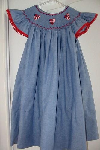 Custom Smocked 4th of July Flag Heart Dress