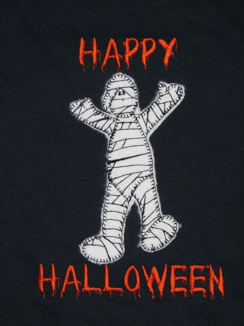 Custom Applique Halloween Mummy Shirt