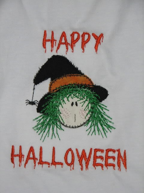 Custom Applique Witches Face Shirt Halloween
