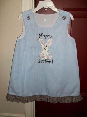 Custom Applique Hoppy Easter Bunny Dress