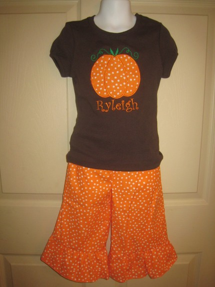 Custom Applique Pumpkin Shirt and Matching Pants