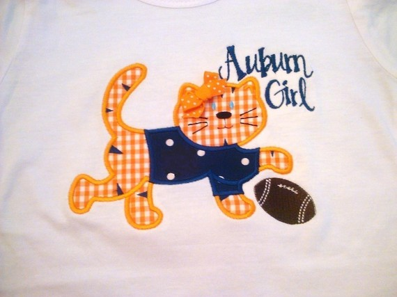 Custom Applique Auburn Girl Football Shirt