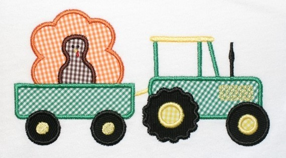 Custom Applique Tractor Turkey Thanksgiving Shirt