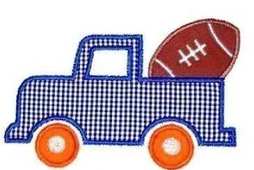 Custom Applique Football in a Truck Shirt
