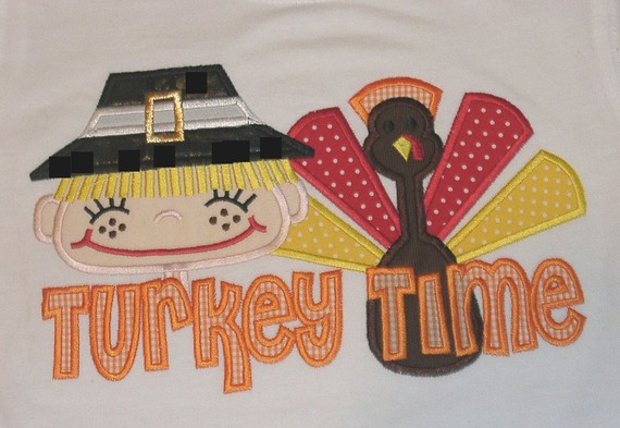 Custom Applique Turkey Time Pligrim and Turkey Shir-boyt