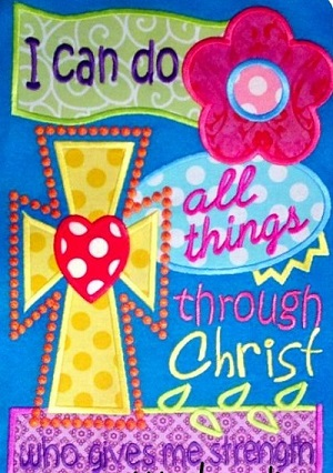 Custom Applique I Can Do All Things Through Christ Shirt