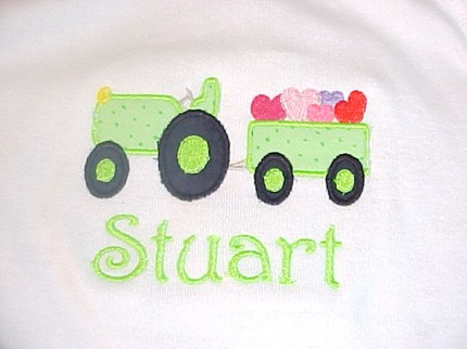 Custom Applique Tractor Filled with Hearts- Valentine's Day