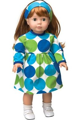 Kelly's Kids Lime and Turquoise Dot Doll Dress and Headband