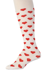 Kelly's Kids White Tights with Red Hearts