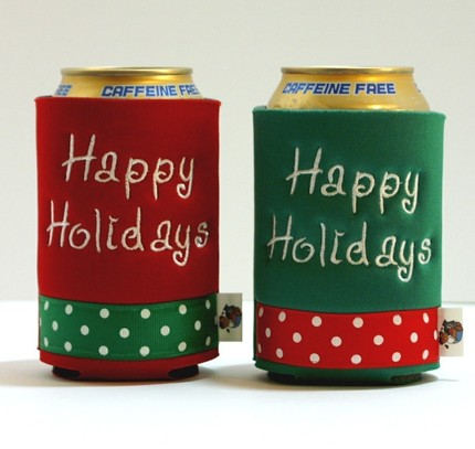 Christmas Happy Holidays Embroidered Koozies