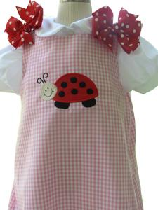 Custom Aline Ladybug Dress (pink gingham)