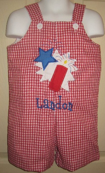 Custom Applique Firecracker 4th of July Jon Jon