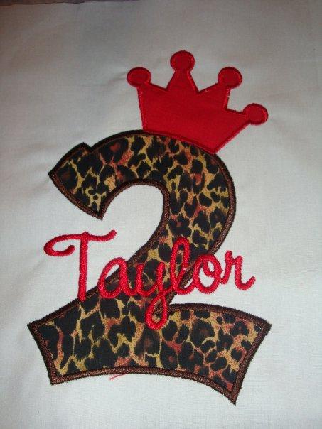 Custom Applique Number Birthday Leopard Princess Shirt