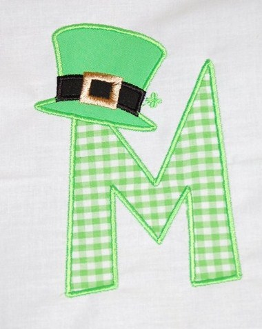 Custom Applique Initial St. Patrick's Day Shirt With Hat