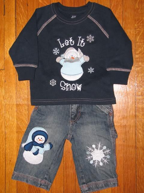 Custom Applique Let It Snow Boy Outfit