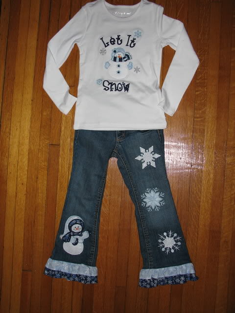 Custom Applique Let It Snow Girl Outfit