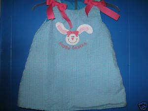 Custom Applique Light Blue Easter Bunny Aline Dress