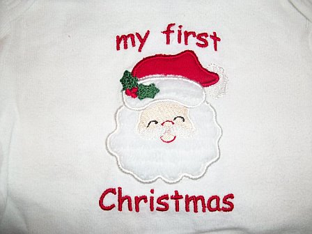 Custom My First Christmas Santa Applique Shirt
