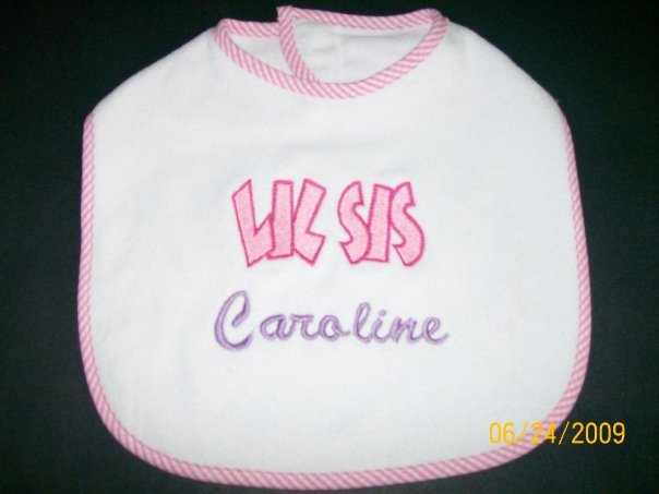 Custom Applique Lil Sis Bib