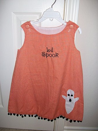 Custom Halloween Lil' Spook Ghost Applique Dress