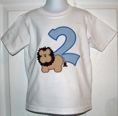 Custom Applique Lion Birthday Number Shirt