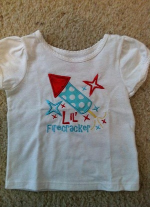 Custom Applique Lil' Firecracker 4th of July Shirt