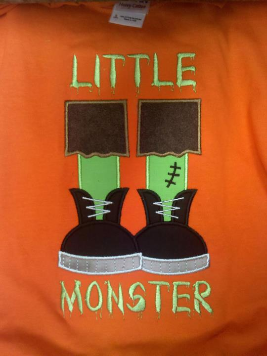 Custom Applique Little Monster Halloween Shirt