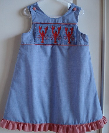 Custom Smocked Lobster Aline Dress
