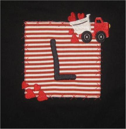 Custom Applique Valentine's Truck Heart Patch Initial Shirt