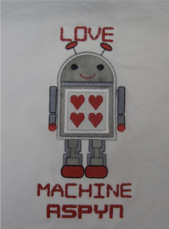 Custom Applique Love Machine Robot Valentine Shirt