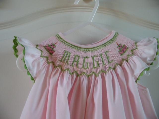 Custom Smocked Name Birthday Cake Dress