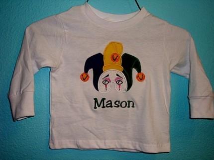 Custom Applique Mardi Gras Jester Mask Shirt