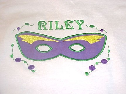 Custom Applique Mardi Gras Mask Shirt