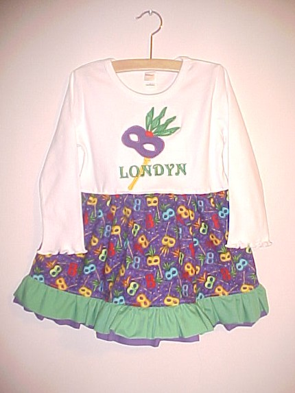 Custom Mardi Gras T-Shirt Twirl Dress