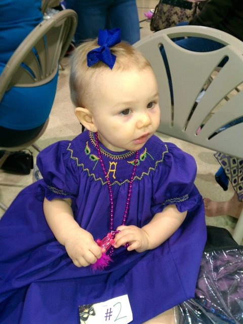 Custom Smocked Mardi Gras Mask Initial Dress