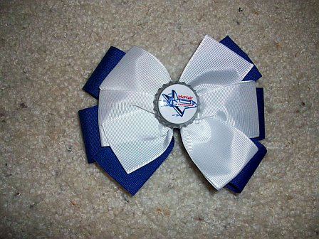 Custom McNair Elem. Bottle Cap Bow (white on blue)