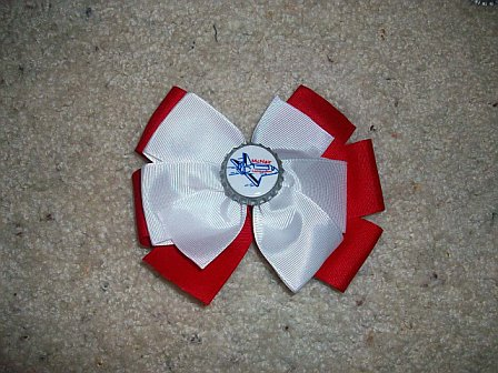 Custom McNair Elem. Bottle Cap Bow (white on red)