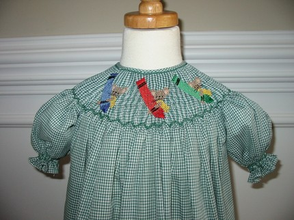 Custom Smocked Bishop Back to School Crayons with Mice