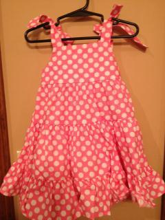 Kelly's Kids pink and white polka dot dress