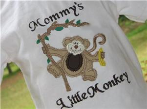 Custom Applique Cute Monkey Shirt