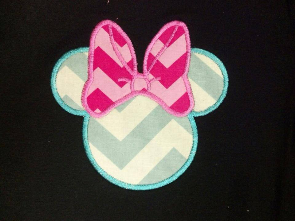 Custom Applique Vacation Mouse Chevron Shirt