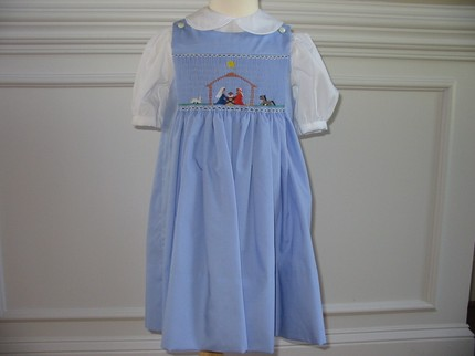 CHRISTMAS NATIVITY Custom Hand Smocked Jumper Blue