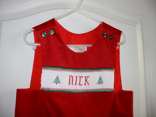 Custom Smocked Christmas Tree Name Longall