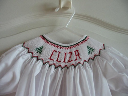 Custom Smocked Christmas Tree Name Dress