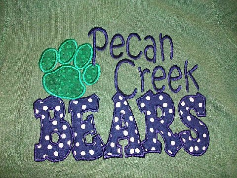 Custom Applique Pecan Creek Bears Shirt (green paw print)