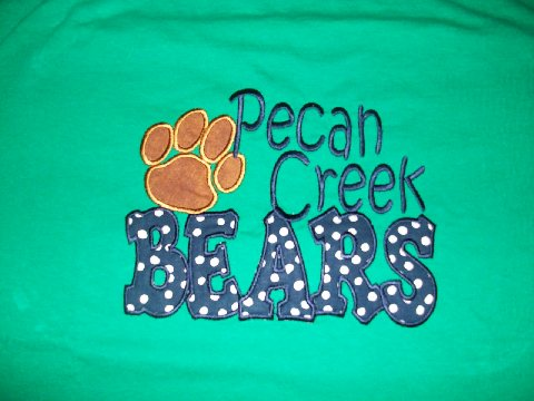 Custom Applique Pecan Creek Elem. Shirt (brown paw print)