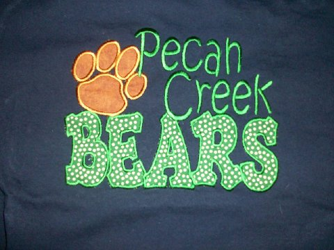 Custom Applique Pecan Creek Elem. Shirt (green and white polka dot)