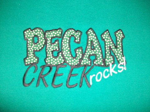 Custom Applique Pecan Creek Spirit Shirt- Black and White Polka Dot